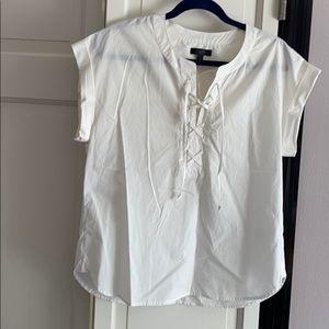 J Crew lace-up white blouse